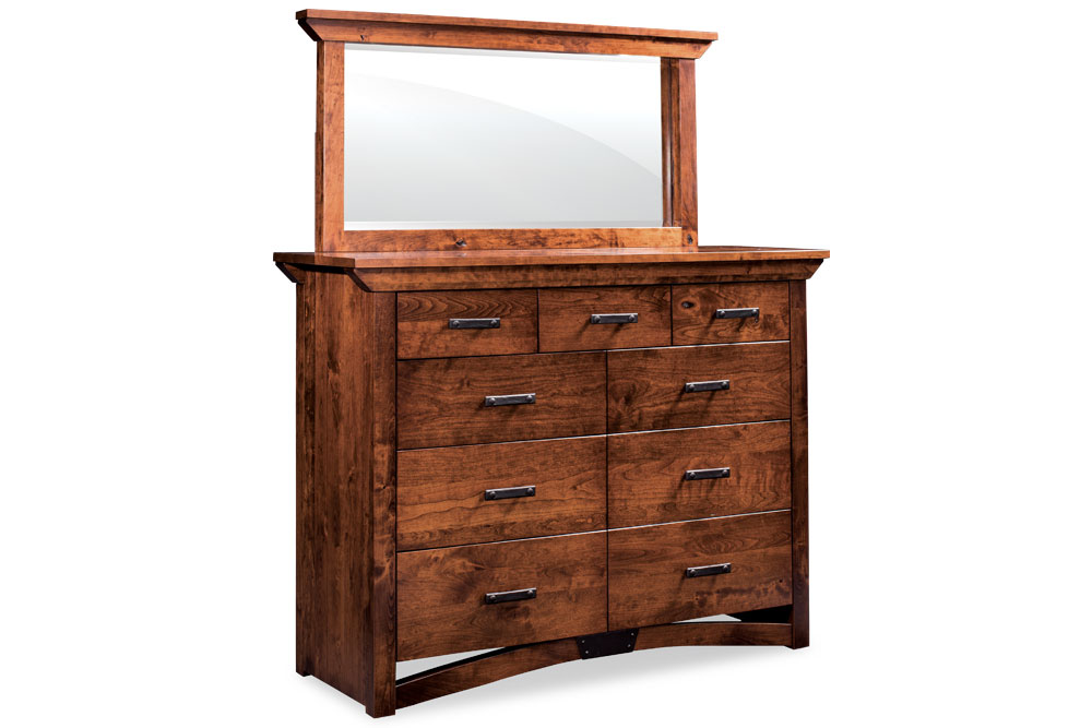 Trestle Bridge 9 Drawer Bureau U0026 Mirror