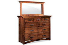 Trestle Bridge 9-Drawer Bureau & Mirror